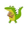 cute cartoon crocodile character walking with book vector image