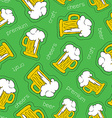 Hand drawn beer patch icon seamless pattern vector image