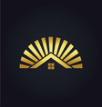 house shine icon gold logo vector image
