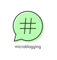 outline hashtag icon in green speech bubble vector image