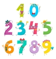 Set of cute and funny colorful number characters vector image