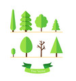 trees set on ground with text ribbon and isolated vector image