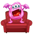 A chair with a pink monster vector image vector image
