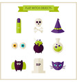 Flat Magic Halloween Witch Objects Set vector image