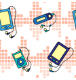 Seamless music players pattern vector image