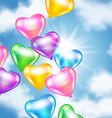 Balloons in shape of heart in the sky vector image