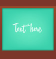 light green school chalkboard with frame vector image