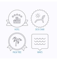 Palm tree waves and deck chair icons vector image