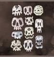 set of cartoon halloween skull halloween stickers vector image
