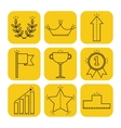 Victory and success Linear flat icons on colored vector image