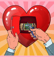 womans heart bomb disposal pop art vector image
