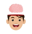 person with brain outside head icon vector image