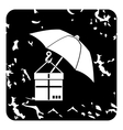 Parcel insurance icon grunge style vector image