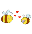 Mother Bee Flying With Baby Bee vector image