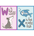 Children Alphabet with Funny Animals Wolf and vector image