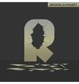 Letter R Broken mirror vector image