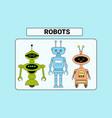 set of cute robots cartoon robotic character vector image