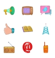 Tidings icons set cartoon style vector image