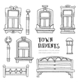 Town elements hand drawn vector image
