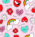 Hand drawn valentines patch icons seamless pattern vector image