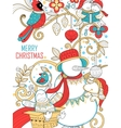 Doodle of Merry Christmas Holiday with Snowman vector image