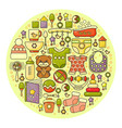 cute colorful baby icon circle backgroun vector image