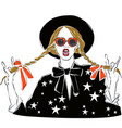 sexy and funny fashion girl dressed in black vector image