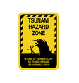 sign warning of a tsunami vector image