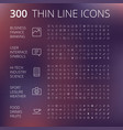 thin line icons for business technology and vector image vector image