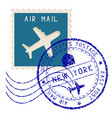 air mail stamp new york post round impress vector image