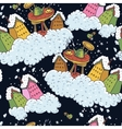 Seamless Christmas Background Houses and Tea Party vector image