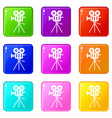 camcorder icons 9 set vector image