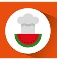 cheerful chef fresh watermelon graphic vector image