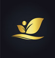 leaf beauty organic gold logo vector image