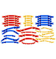 set of blue red golden ribbons on white vector image