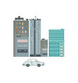 set of residential and commercial buildings car vector image