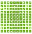 100 calculator icons set grunge green vector image