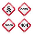 Danger oops error 404 red warning sign vector image vector image