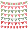Pink and green bunting set vector image