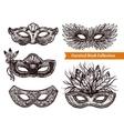 Carnival Mask Hand Drawn Set vector image