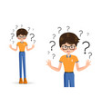 confused child shrugging shoulders vector image