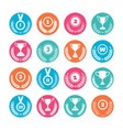winner cups and awards wreaths icons vector image