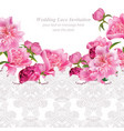 peony flowers and delicate lace card springtime vector image