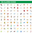 100 alarm icons set cartoon style vector image