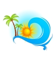 Sea Wave with Palm Tree vector image
