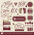 wine and drink design elements vector image vector image