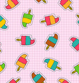 Ice cream popsicle patch icon seamless pattern vector image