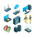 isometric icon set of different electronic systems vector image