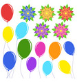 set of flat colored isolated balloons on ropes vector image