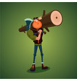 strong lumberjack carries axe and big log vector image